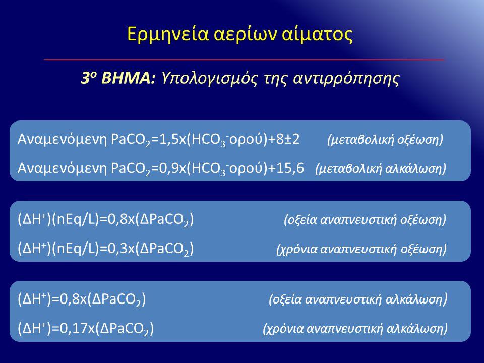 Αναμενόμενη PaCO 2 =1,5x(HCO 3 - ορού)+8±2 (μεταβολική οξέωση) Αναμενόμενη PaCO 2 =0,9x(HCO 3 - ορού)+15,6 (μεταβολική αλκάλωση) (ΔΗ + )(nEq/L)=0,8x(Δ