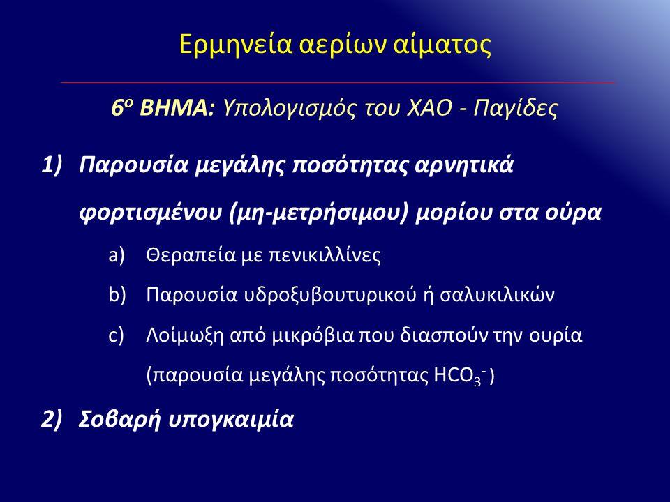 Ερμηνεία αερίων αίματος 1)Παρουσία μεγάλης ποσότητας αρνητικά φορτισμένου (μη-μετρήσιμου) μορίου στα ούρα a)Θεραπεία με πενικιλλίνες b)Παρουσία υδροξυ