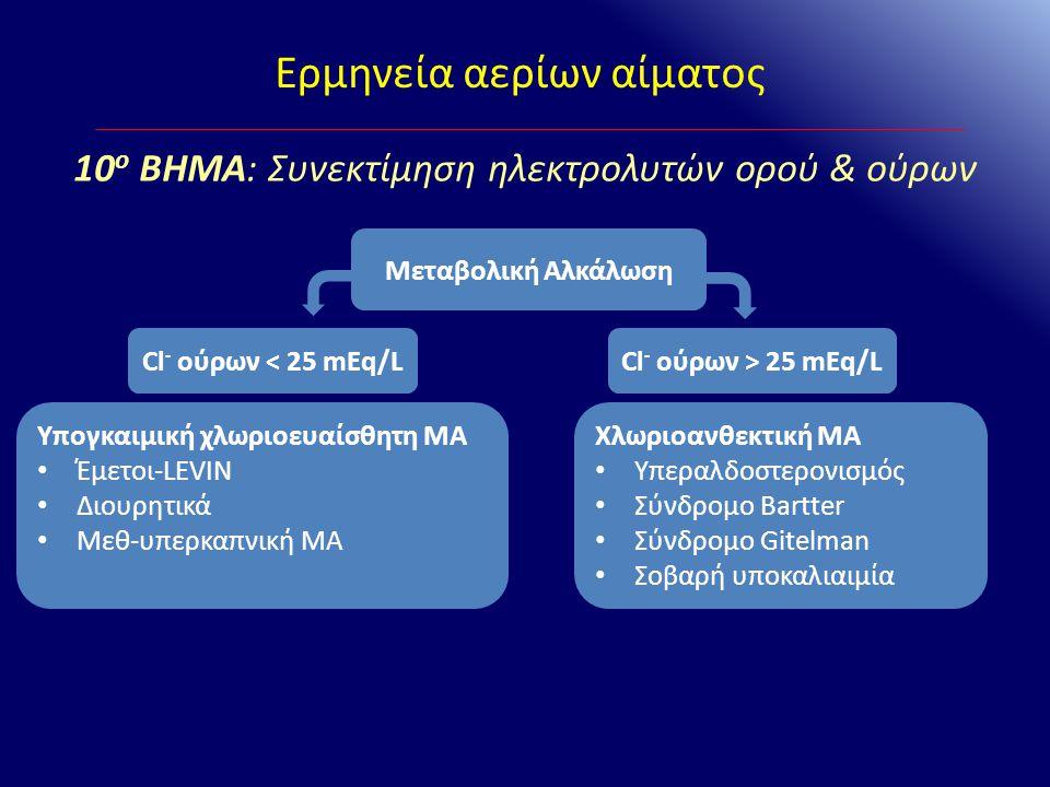 Ερμηνεία αερίων αίματος 10 ο ΒΗΜΑ: Συνεκτίμηση ηλεκτρολυτών ορού & ούρων Μεταβολική Αλκάλωση Cl - ούρων < 25 mEq/LCl - ούρων > 25 mEq/L Υπογκαιμική χλ