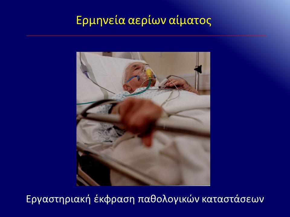 Ερμηνεία αερίων αίματος «Ισοδύναμα» Δέλτα Χάσματος A.Πηλίκο ΔΧΑ/ ΔHCO 3 - i.ΔΧΑ / ΔHCO 3 - > 1,6 ii.ΔΧΑ / ΔHCO 3 - < 1 B.Υπολογιζόμενα HCO 3 - = ΔΧΑ + (HCO 3 - ασθενούς ) i.Υπολογ.