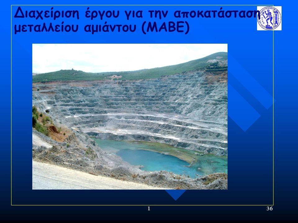 136 Διαχείριση έργου για την αποκατάσταση μεταλλείου αμιάντου (ΜΑΒΕ)