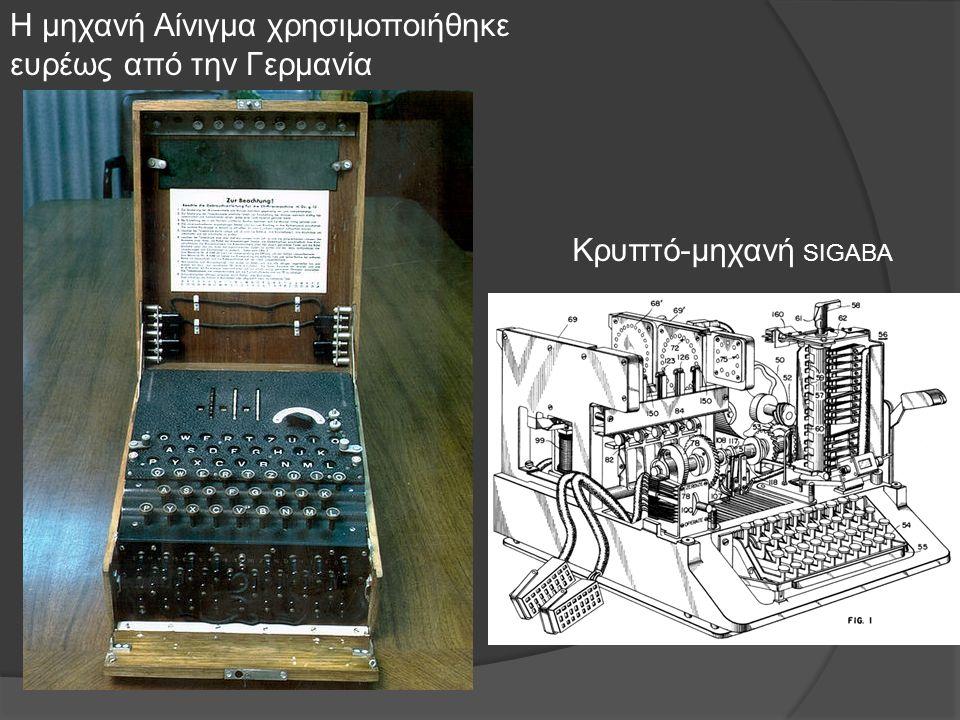 Η μηχανή Αίνιγμα χρησιμοποιήθηκε ευρέως από την Γερμανία Κρυπτό-μηχανή SIGABA
