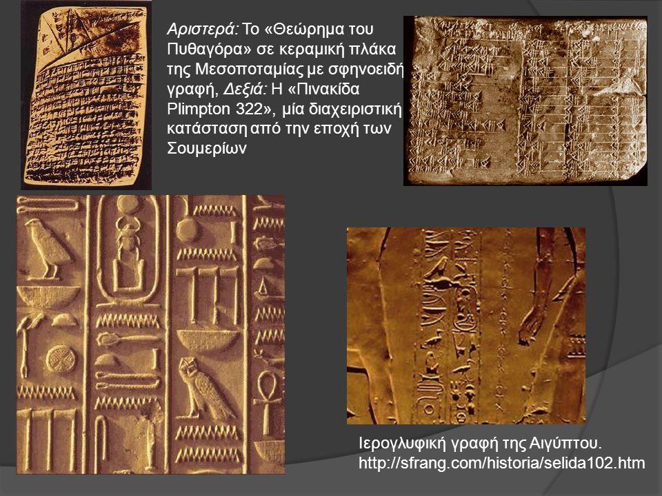 Ιερογλυφική γραφή της Αιγύπτου. http://sfrang.com/historia/selida102.htm Αριστερά: Το «Θεώρημα του Πυθαγόρα» σε κεραμική πλάκα της Μεσοποταμίας με σφη