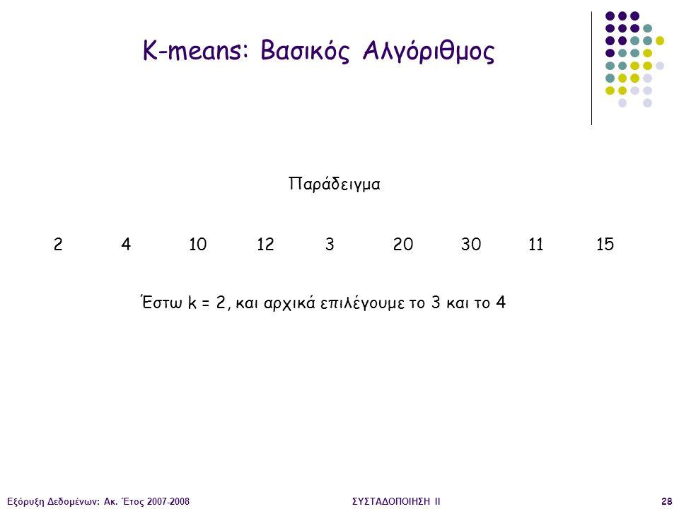 Εξόρυξη Δεδομένων: Ακ. Έτος 2007-2008ΣΥΣΤΑΔΟΠΟΙΗΣΗ ΙΙ28 K-means: Βασικός Αλγόριθμος Παράδειγμα 241012320301115 Έστω k = 2, και αρχικά επιλέγουμε το 3