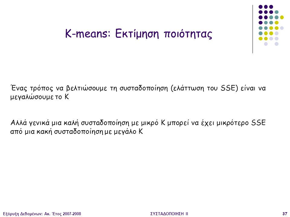 Εξόρυξη Δεδομένων: Ακ. Έτος 2007-2008ΣΥΣΤΑΔΟΠΟΙΗΣΗ ΙΙ37 K-means: Εκτίμηση ποιότητας Ένας τρόπος να βελτιώσουμε τη συσταδοποίηση (ελάττωση του SSE) είν