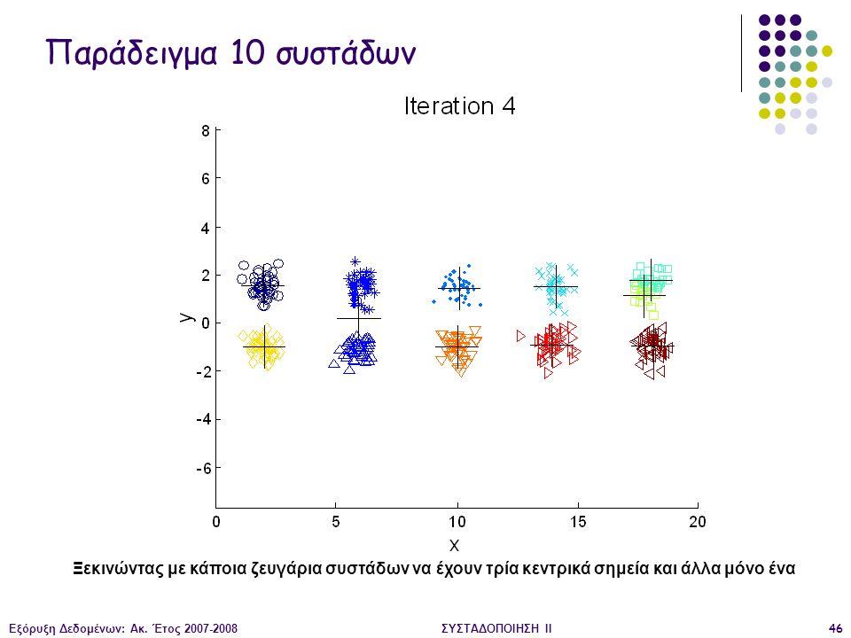 Εξόρυξη Δεδομένων: Ακ. Έτος 2007-2008ΣΥΣΤΑΔΟΠΟΙΗΣΗ ΙΙ46 Ξεκινώντας με κάποια ζευγάρια συστάδων να έχουν τρία κεντρικά σημεία και άλλα μόνο ένα Παράδει