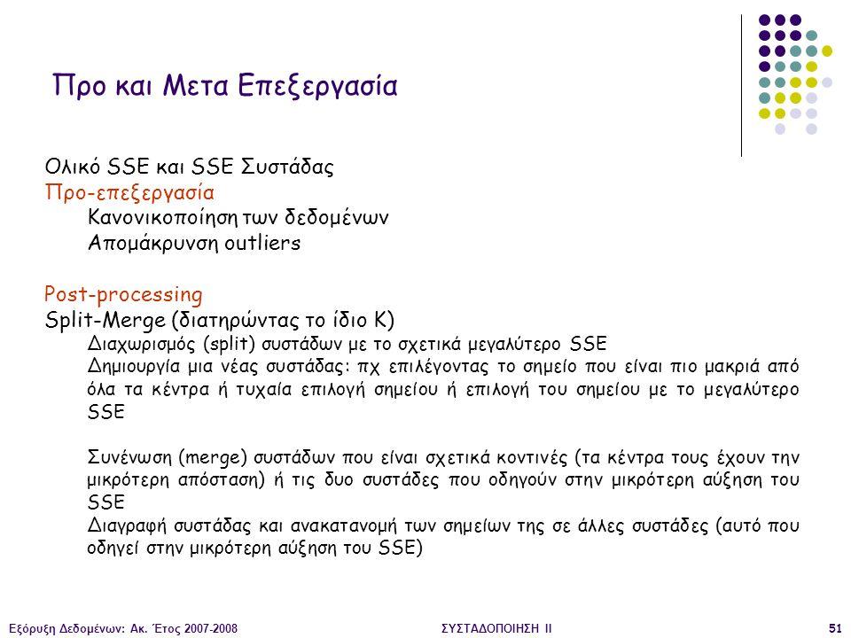 Εξόρυξη Δεδομένων: Ακ. Έτος 2007-2008ΣΥΣΤΑΔΟΠΟΙΗΣΗ ΙΙ51 Προ και Μετα Επεξεργασία Ολικό SSE και SSE Συστάδας Προ-επεξεργασία Κανονικοποίηση των δεδομέν