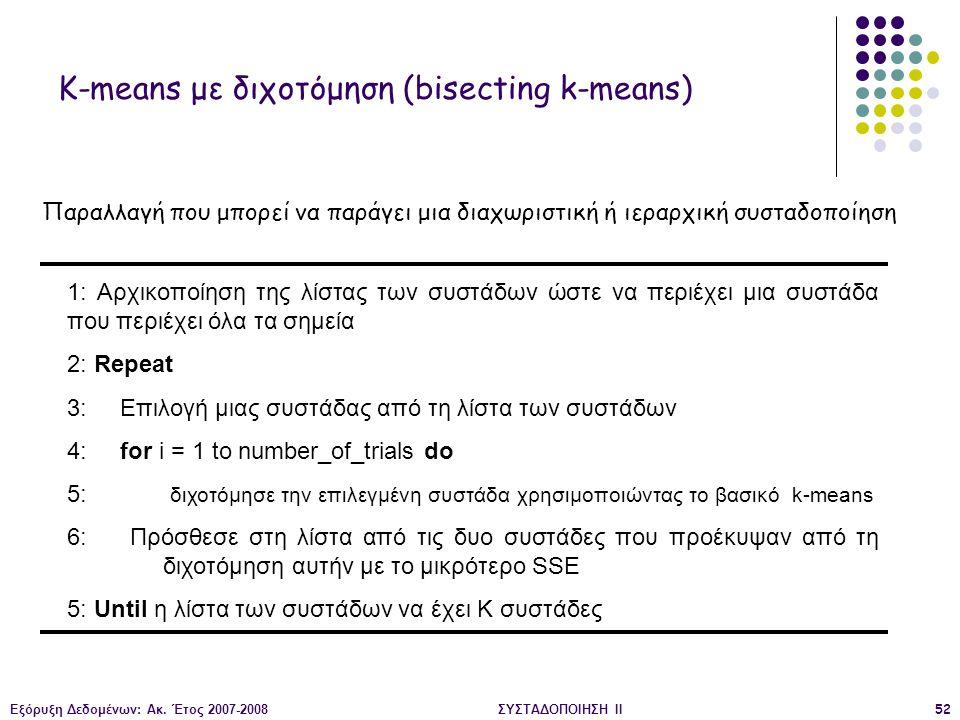 Εξόρυξη Δεδομένων: Ακ. Έτος 2007-2008ΣΥΣΤΑΔΟΠΟΙΗΣΗ ΙΙ52 1: Αρχικοποίηση της λίστας των συστάδων ώστε να περιέχει μια συστάδα που περιέχει όλα τα σημεί
