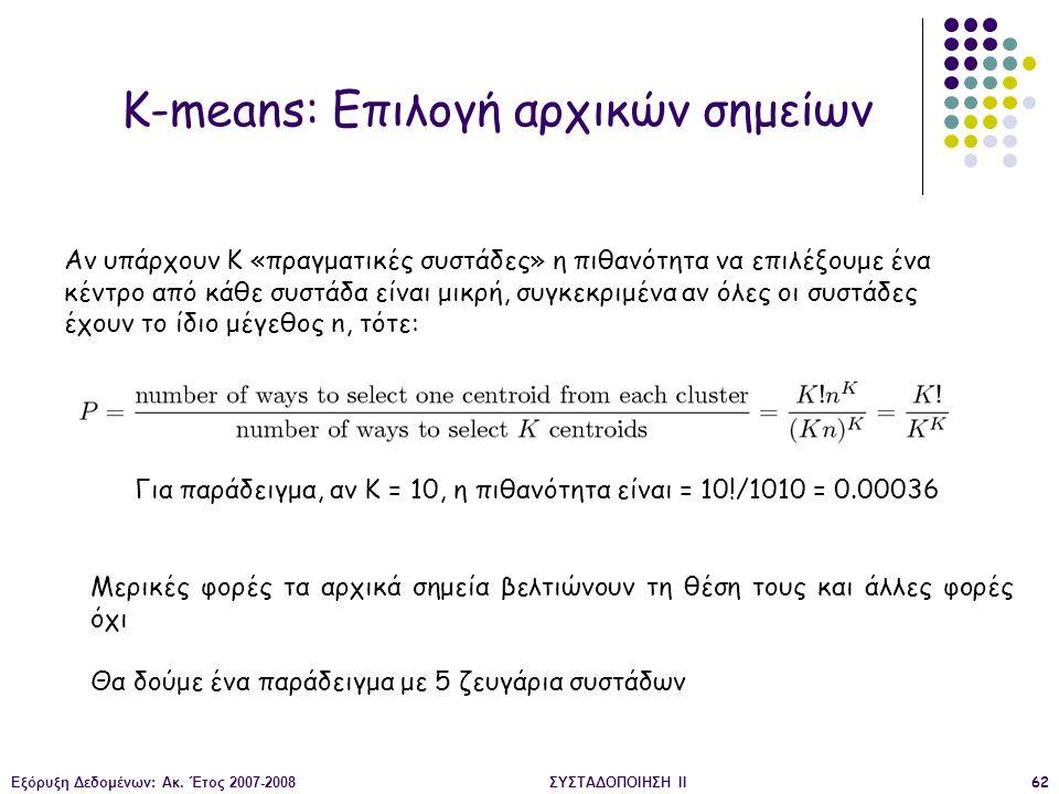 Εξόρυξη Δεδομένων: Ακ. Έτος 2007-2008ΣΥΣΤΑΔΟΠΟΙΗΣΗ ΙΙ62 K-means: Επιλογή αρχικών σημείων Αν υπάρχουν K «πραγματικές συστάδες» η πιθανότητα να επιλέξου