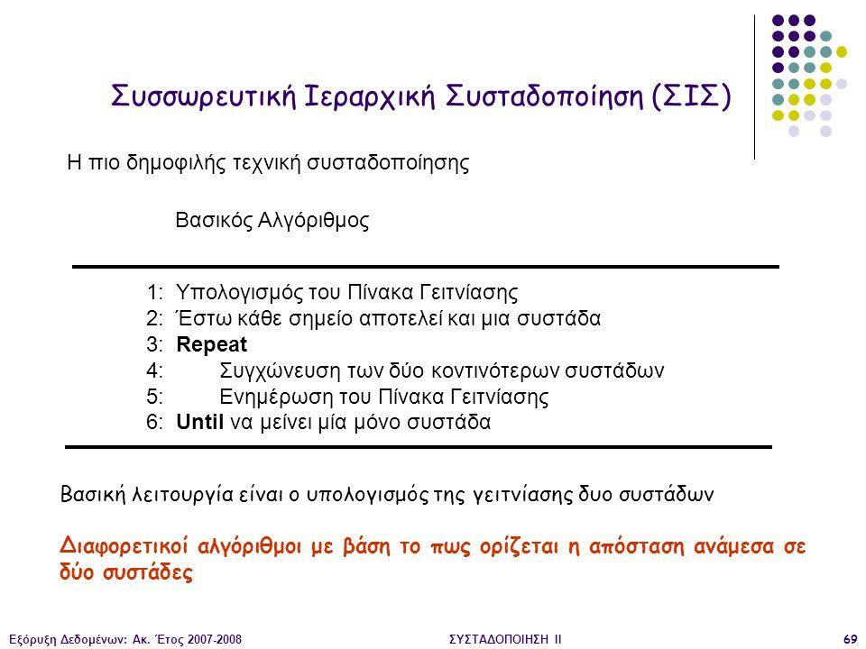 Εξόρυξη Δεδομένων: Ακ. Έτος 2007-2008ΣΥΣΤΑΔΟΠΟΙΗΣΗ ΙΙ69 Συσσωρευτική Ιεραρχική Συσταδοποίηση (ΣΙΣ) 1: Υπολογισμός του Πίνακα Γειτνίασης 2: Έστω κάθε σ
