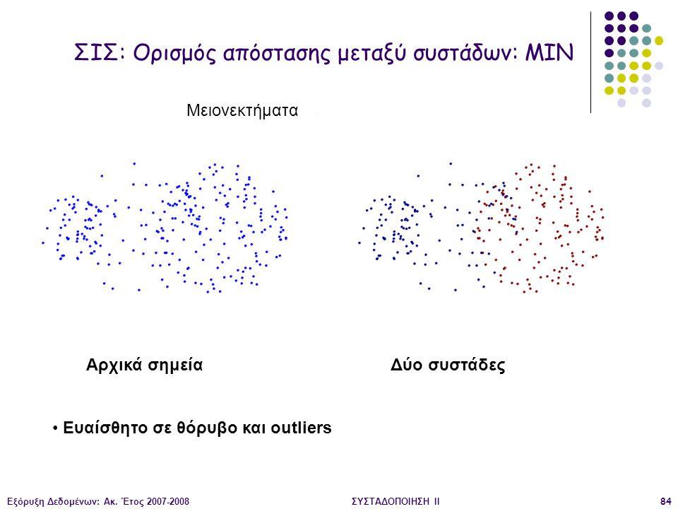 Εξόρυξη Δεδομένων: Ακ. Έτος 2007-2008ΣΥΣΤΑΔΟΠΟΙΗΣΗ ΙΙ84 Αρχικά σημεία Δύο συστάδες Ευαίσθητο σε θόρυβο και outliers ΣΙΣ: Ορισμός απόστασης μεταξύ συστ