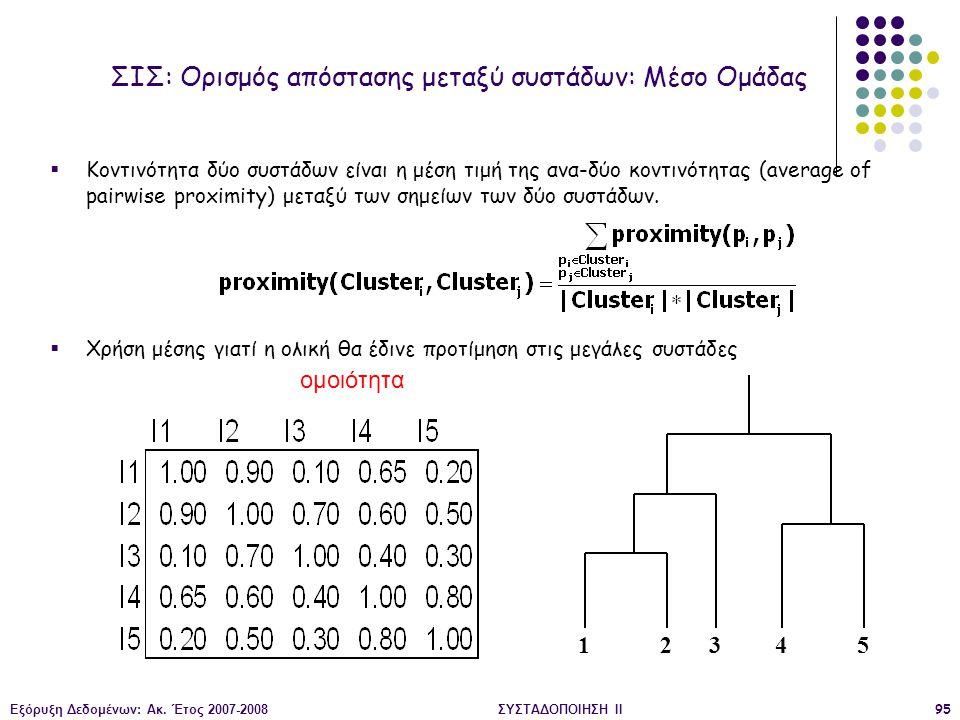 Εξόρυξη Δεδομένων: Ακ. Έτος 2007-2008ΣΥΣΤΑΔΟΠΟΙΗΣΗ ΙΙ95  Κοντινότητα δύο συστάδων είναι η μέση τιμή της ανα-δύο κοντινότητας (average of pairwise pro