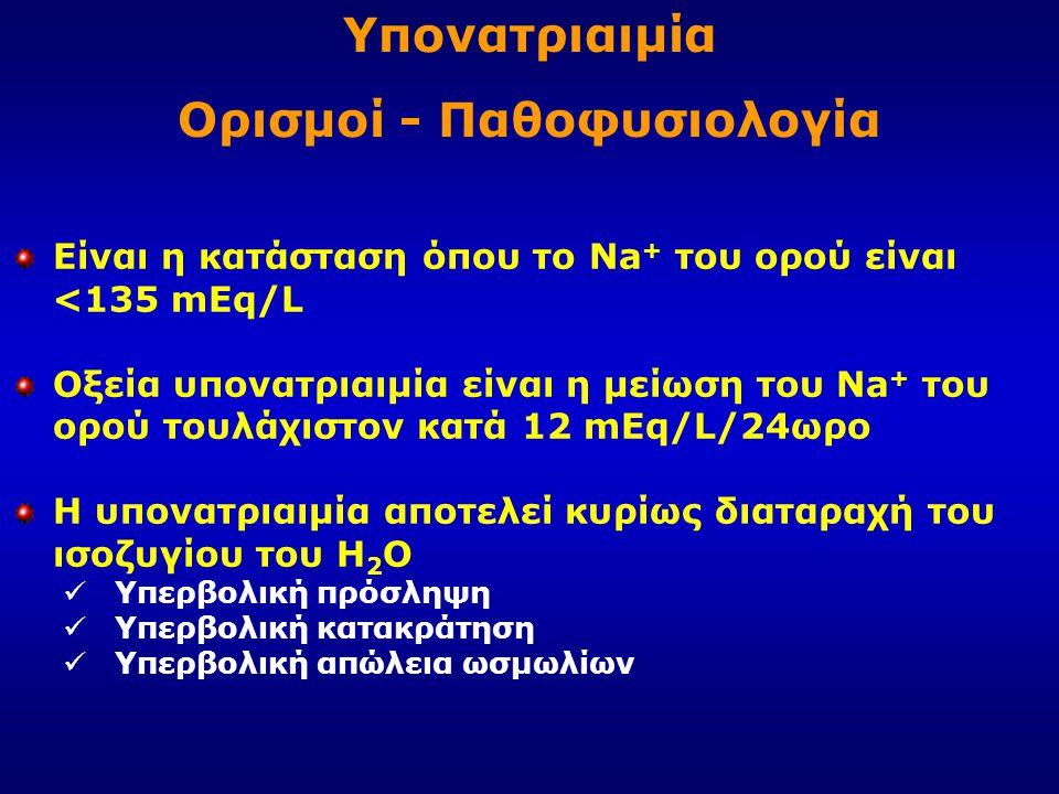 Είναι η κατάσταση όπου το Na + του ορού είναι <135 mEq/L Οξεία υπονατριαιμία είναι η μείωση του Na + του ορού τουλάχιστον κατά 12 mEq/L/24ωρο Η υπονατ