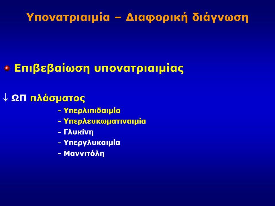 Υπονατριαιμία – Διαφορική διάγνωση Επιβεβαίωση υπονατριαιμίας  ΩΠ πλάσματος - Υπερλιπιδαιμία - Υπερλευκωματιναιμία - Γλυκίνη - Υπεργλυκαιμία - Μαννιτ