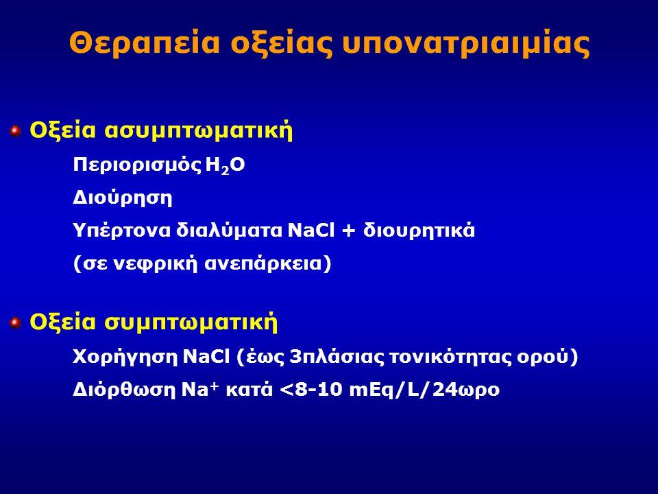 Θεραπεία οξείας υπονατριαιμίας Οξεία ασυμπτωματική Περιορισμός Η 2 Ο Διούρηση Υπέρτονα διαλύματα NaCl + διουρητικά (σε νεφρική ανεπάρκεια) Οξεία συμπτ