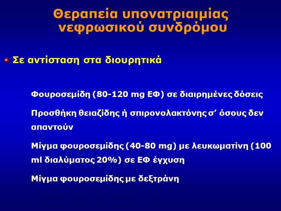 Σε αντίσταση στα διουρητικά Φουροσεμίδη (80-120 mg ΕΦ) σε διαιρημένες δόσεις Προσθήκη θειαζίδης ή σπιρονολακτόνης σ' όσους δεν απαντούν Μίγμα φουροσεμ