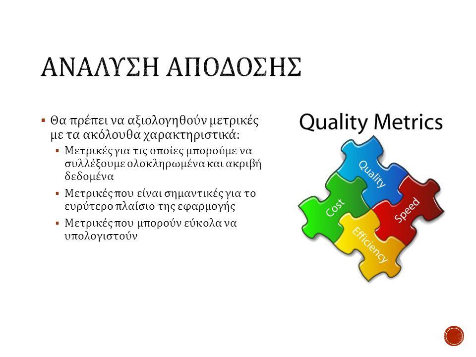  Θα πρέπει να αξιολογηθούν μετρικές με τα ακόλουθα χαρακτηριστικά :  Μετρικές για τις οποίες μπορούμε να συλλέξουμε ολοκληρωμένα και ακριβή δεδομένα  Μετρικές που είναι σημαντικές για το ευρύτερο πλαίσιο της εφαρμογής  Μετρικές που μπορούν εύκολα να υπολογιστούν