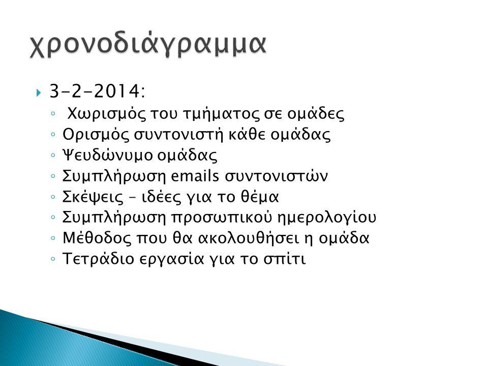  3-2-2014: ◦ Χωρισμός του τμήματος σε ομάδες ◦ Ορισμός συντονιστή κάθε ομάδας ◦ Ψευδώνυμο ομάδας ◦ Συμπλήρωση emails συντονιστών ◦ Σκέψεις – ιδέες για το θέμα ◦ Συμπλήρωση προσωπικού ημερολογίου ◦ Μέθοδος που θα ακολουθήσει η ομάδα ◦ Τετράδιο εργασία για το σπίτι