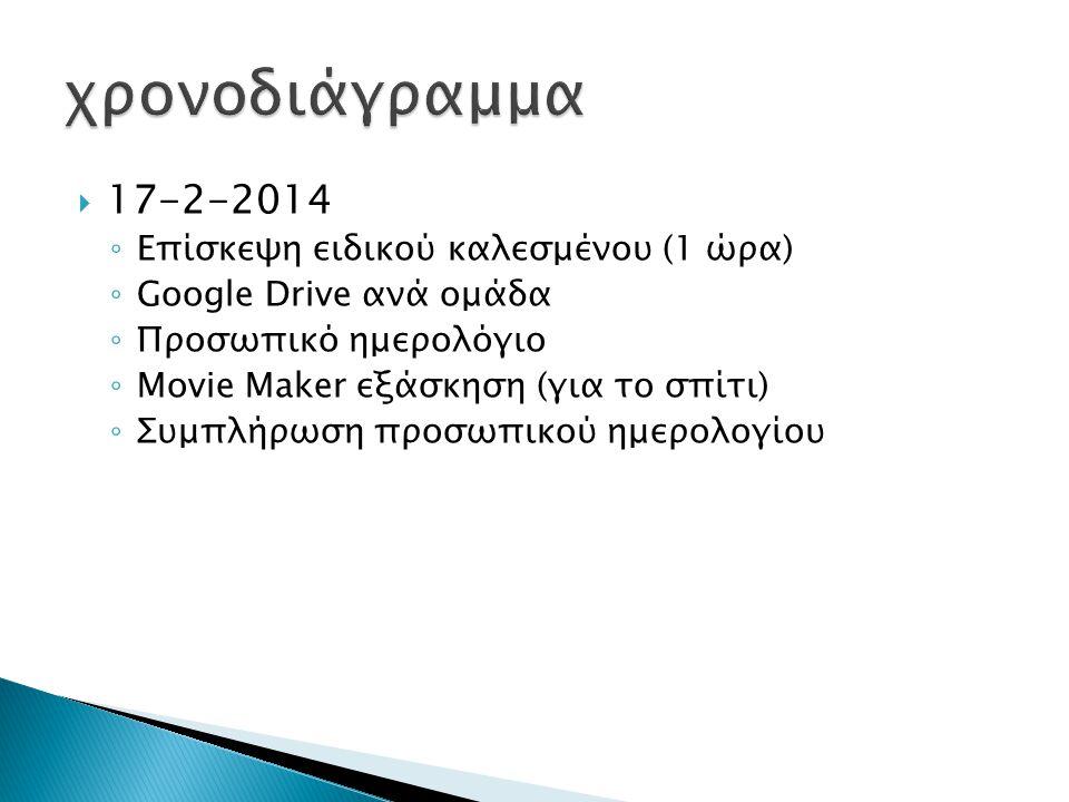  17-2-2014 ◦ Επίσκεψη ειδικού καλεσμένου (1 ώρα) ◦ Google Drive ανά ομάδα ◦ Προσωπικό ημερολόγιο ◦ Movie Maker εξάσκηση (για το σπίτι) ◦ Συμπλήρωση προσωπικού ημερολογίου