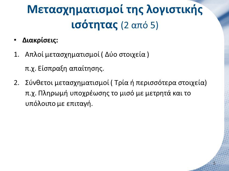 Διακρίσεις: 1.Απλοί μετασχηματισμοί ( Δύο στοιχεία ) π.χ. Είσπραξη απαίτησης. 2.Σύνθετοι μετασχηματισμοί ( Τρία ή περισσότερα στοιχεία) π.χ. Πληρωμή υ
