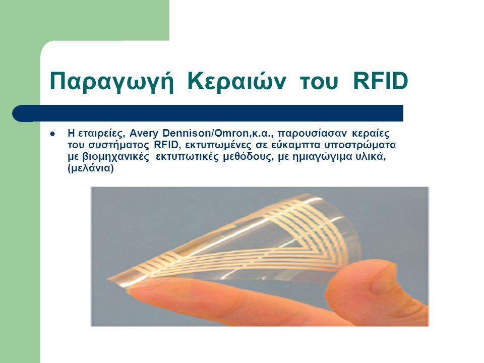 Παραγωγή Κεραιών του RFID Η εταιρείες, Avery Dennison/Omron,κ.α., παρουσίασαν κεραίες του συστήματος RFID, εκτυπωμένες σε εύκαμπτα υποστρώματα με βιομηχανικές εκτυπωτικές μεθόδους, με ημιαγώγιμα υλικά, (μελάνια)