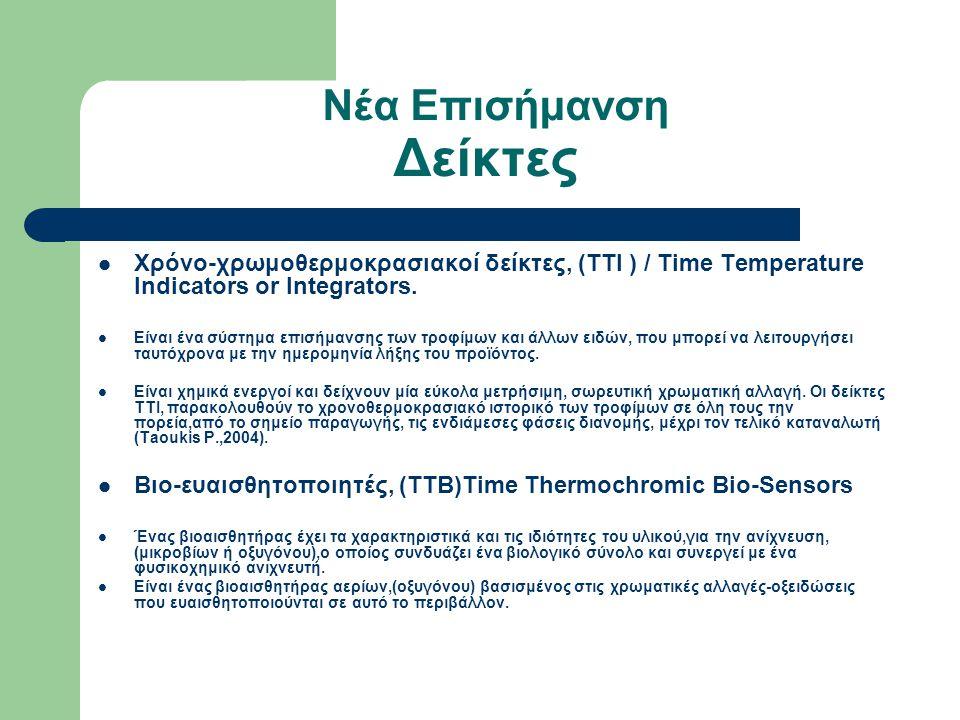Νέα Επισήμανση Δείκτες Χρόνο-χρωμοθερμοκρασιακοί δείκτες, (ΤΤΙ ) / Time Temperature Indicators or Integrators. Είναι ένα σύστημα επισήμανσης των τροφί