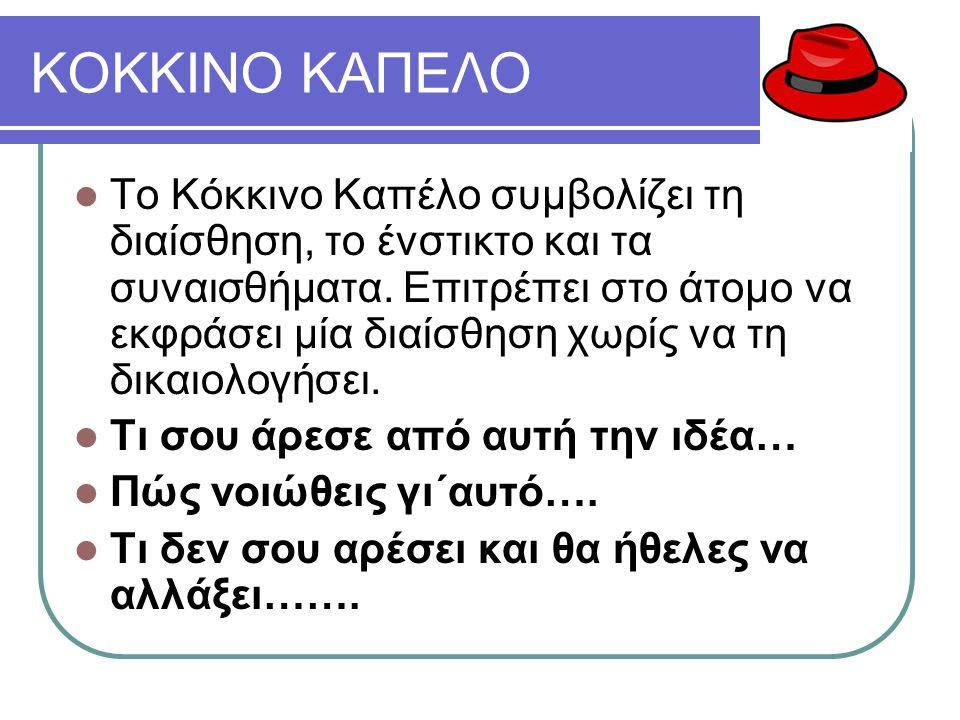 ΚΟΚΚΙΝΟ ΚΑΠΕΛΟ Το Κόκκινο Καπέλο συμβολίζει τη διαίσθηση, το ένστικτο και τα συναισθήματα.