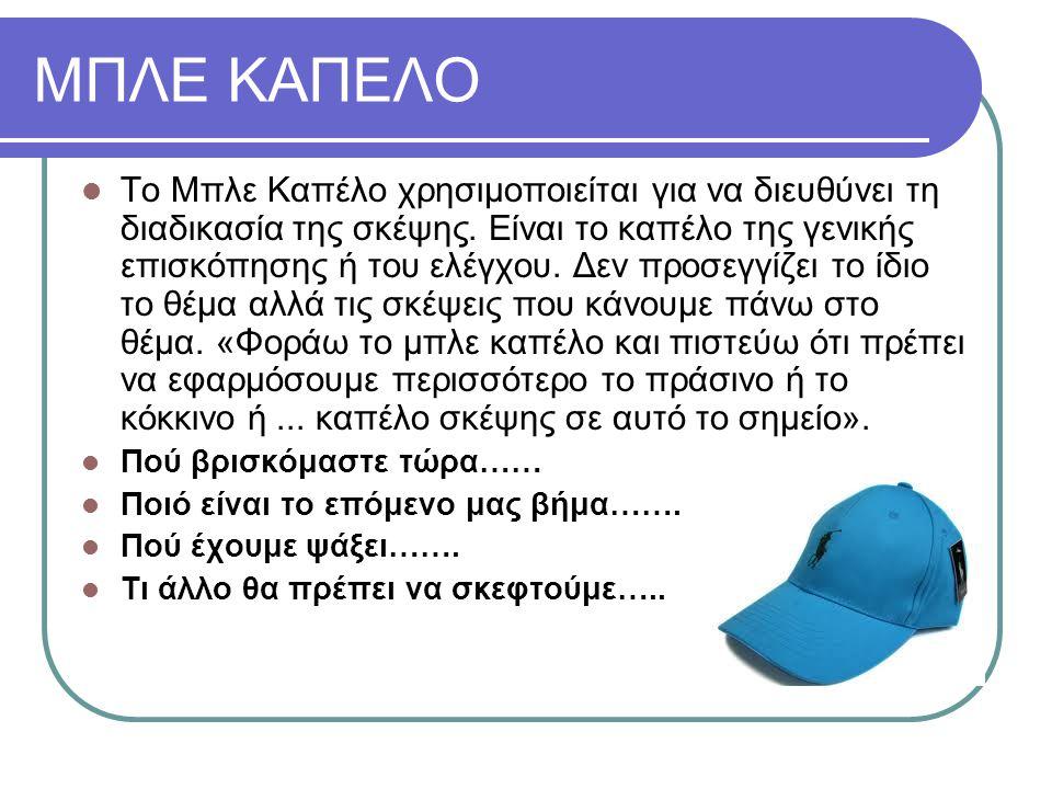 ΜΠΛΕ ΚΑΠΕΛΟ Το Μπλε Καπέλο χρησιμοποιείται για να διευθύνει τη διαδικασία της σκέψης.