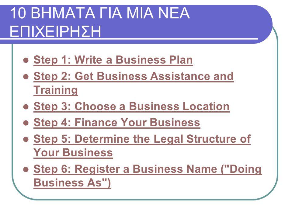 10 ΒΗΜΑΤΑ ΓΙΑ ΜΙΑ ΝΕΑ ΕΠΙΧΕΙΡΗΣΗ Step 1: Write a Business Plan Step 2: Get Business Assistance and Training Step 2: Get Business Assistance and Training Step 3: Choose a Business Location Step 4: Finance Your Business Step 5: Determine the Legal Structure of Your Business Step 5: Determine the Legal Structure of Your Business Step 6: Register a Business Name ( Doing Business As ) Step 6: Register a Business Name ( Doing Business As )