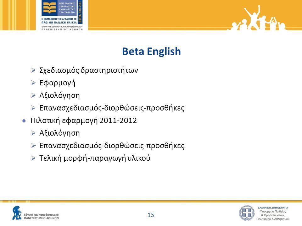 Beta English  Σχεδιασμός δραστηριοτήτων  Εφαρμογή  Αξιολόγηση  Επανασχεδιασμός-διορθώσεις-προσθήκες ● Πιλοτική εφαρμογή 2011-2012  Αξιολόγηση  Ε