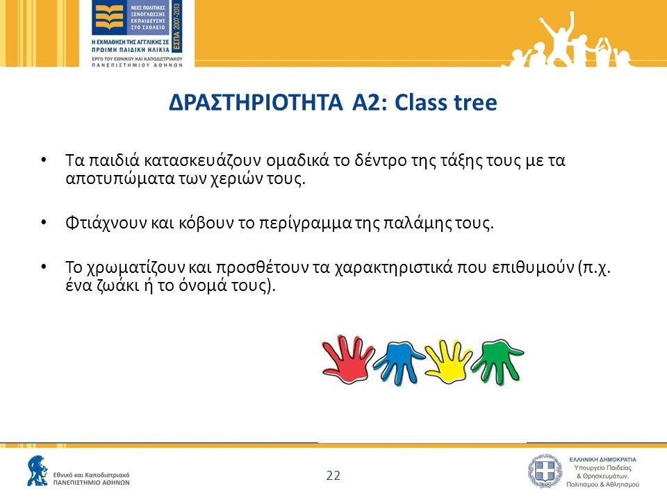 ΔΡΑΣΤΗΡΙΟΤΗΤΑ A2: Class tree Τα παιδιά κατασκευάζουν ομαδικά το δέντρο της τάξης τους με τα αποτυπώματα των χεριών τους. Φτιάχνουν και κόβουν το περίγ