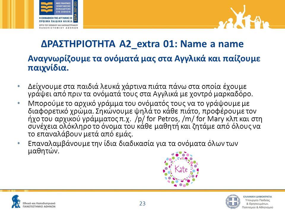 ΔΡΑΣΤΗΡΙΟΤΗΤΑ Α2_extra 01: Name a name Αναγνωρίζουμε τα ονόματά μας στα Αγγλικά και παίζουμε παιχνίδια. Δείχνουμε στα παιδιά λευκά χάρτινα πιάτα πάνω