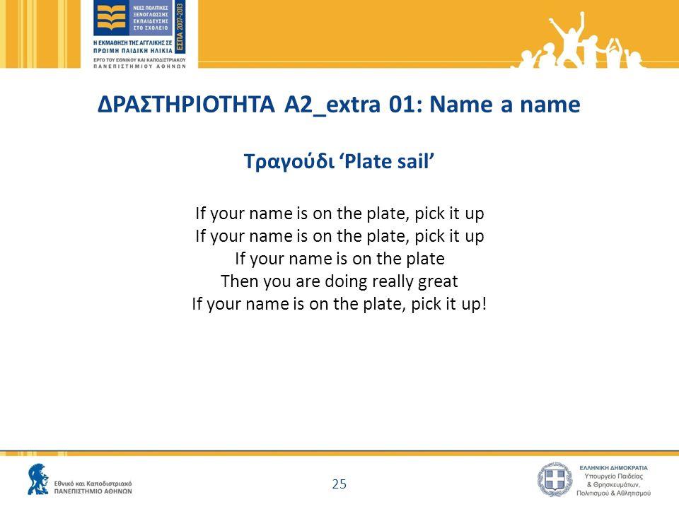 ΔΡΑΣΤΗΡΙΟΤΗΤΑ Α2_extra 01: Name a name Τραγούδι 'Plate sail' If your name is on the plate, pick it up If your name is on the plate Then you are doing