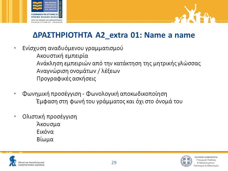 ΔΡΑΣΤΗΡΙΟΤΗΤΑ Α2_extra 01: Name a name Ενίσχυση αναδυόμενου γραμματισμού Ακουστική εμπειρία Ανάκληση εμπειριών από την κατάκτηση της μητρικής γλώσσας
