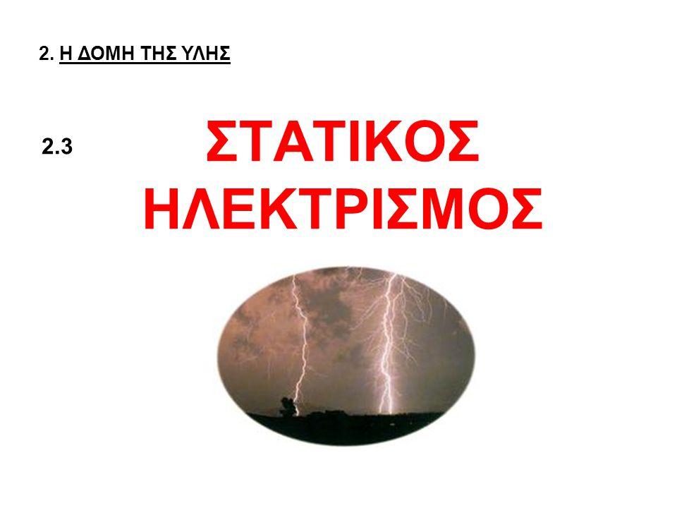 ΣΤΑΤΙΚΟΣ ΗΛΕΚΤΡΙΣΜΟΣ 2. Η ΔΟΜΗ ΤΗΣ ΥΛΗΣ 2.3
