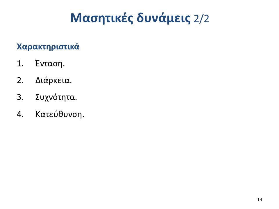 Μασητικές δυνάμεις 2/2 Χαρακτηριστικά 1.Ένταση. 2.Διάρκεια. 3.Συχνότητα. 4.Κατεύθυνση. 14
