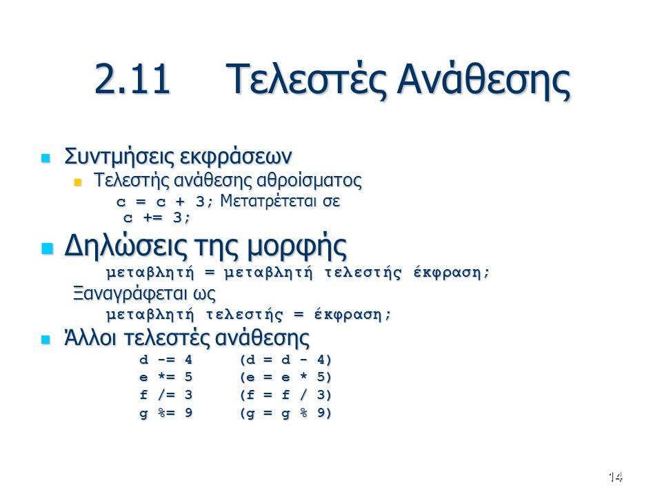 14 2.11Τελεστές Ανάθεσης Συντμήσεις εκφράσεων Συντμήσεις εκφράσεων Τελεστής ανάθεσης αθροίσματος Τελεστής ανάθεσης αθροίσματος c = c + 3; Μετατρέτεται