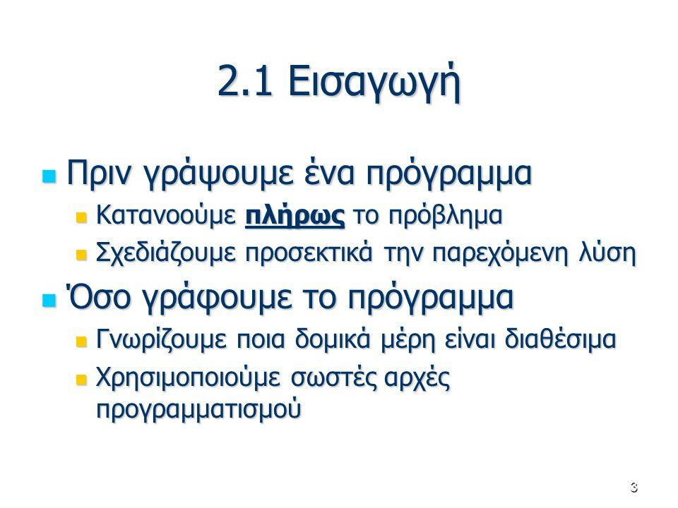 3 2.1 Εισαγωγή Πριν γράψουμε ένα πρόγραμμα Πριν γράψουμε ένα πρόγραμμα Κατανοούμε πλήρως το πρόβλημα Κατανοούμε πλήρως το πρόβλημα Σχεδιάζουμε προσεκτ