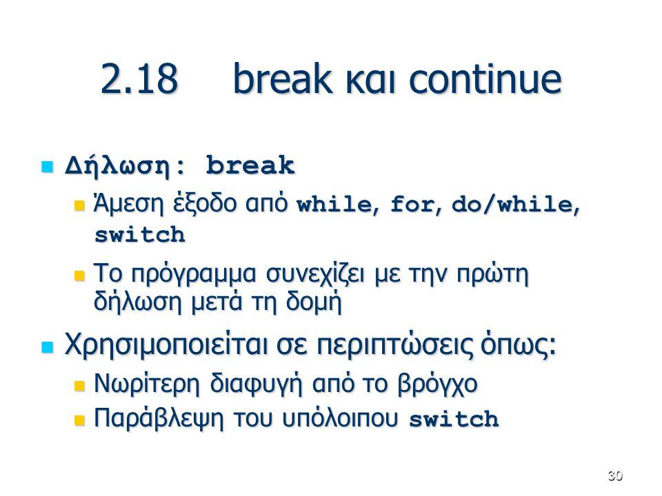 30 2.18break και continue Δήλωση: break Δήλωση: break Άμεση έξοδο από while, for, do/while, switch Άμεση έξοδο από while, for, do/while, switch Το πρό