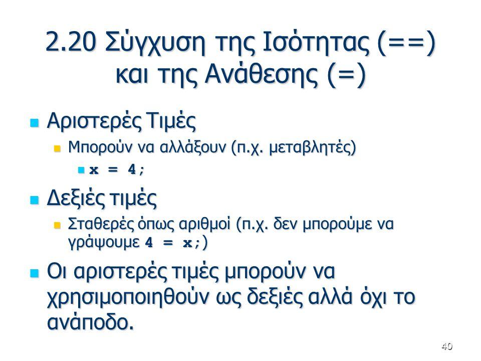 40 2.20 Σύγχυση της Ισότητας (==) και της Ανάθεσης (=) Αριστερές Τιμές Αριστερές Τιμές Μπορούν να αλλάξουν (π.χ. μεταβλητές) Μπορούν να αλλάξουν (π.χ.