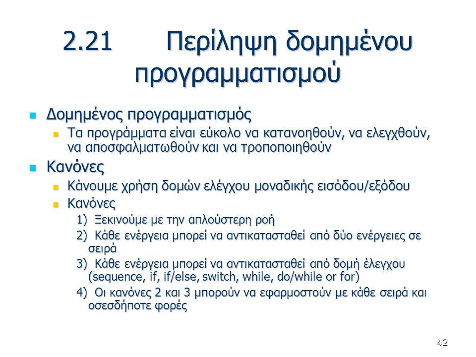 42 2.21 Περίληψη δομημένου προγραμματισμού Δομημένος προγραμματισμός Δομημένος προγραμματισμός Τα προγράμματα είναι εύκολο να κατανοηθούν, να ελεγχθού