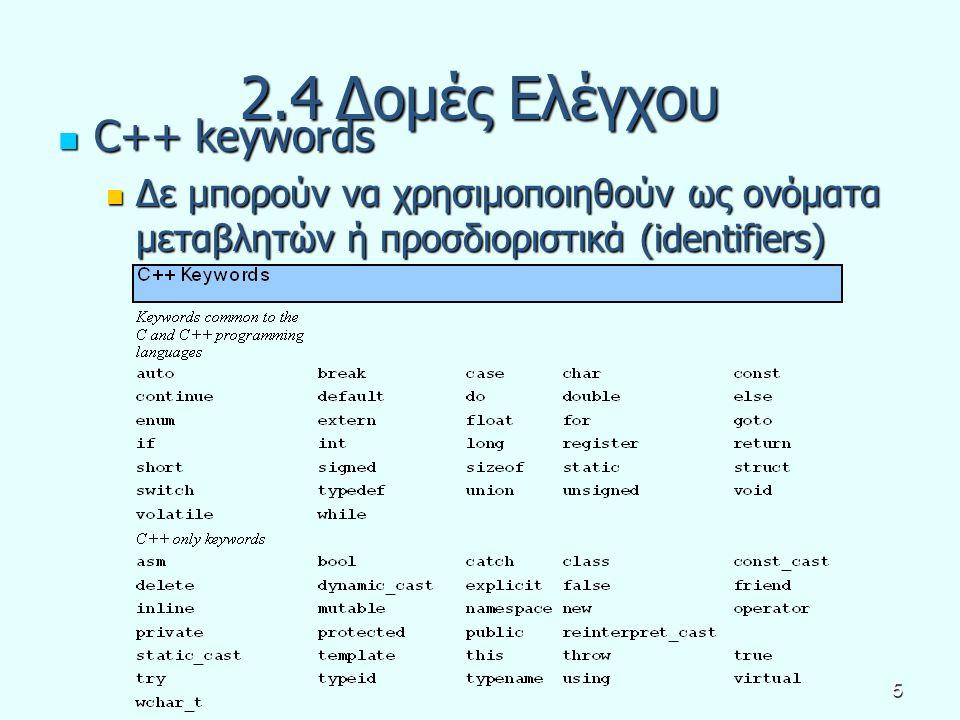 5 2.4Δομές Ελέγχου C++ keywords C++ keywords Δε μπορούν να χρησιμοποιηθούν ως ονόματα μεταβλητών ή προσδιοριστικά (identifiers) Δε μπορούν να χρησιμοπ