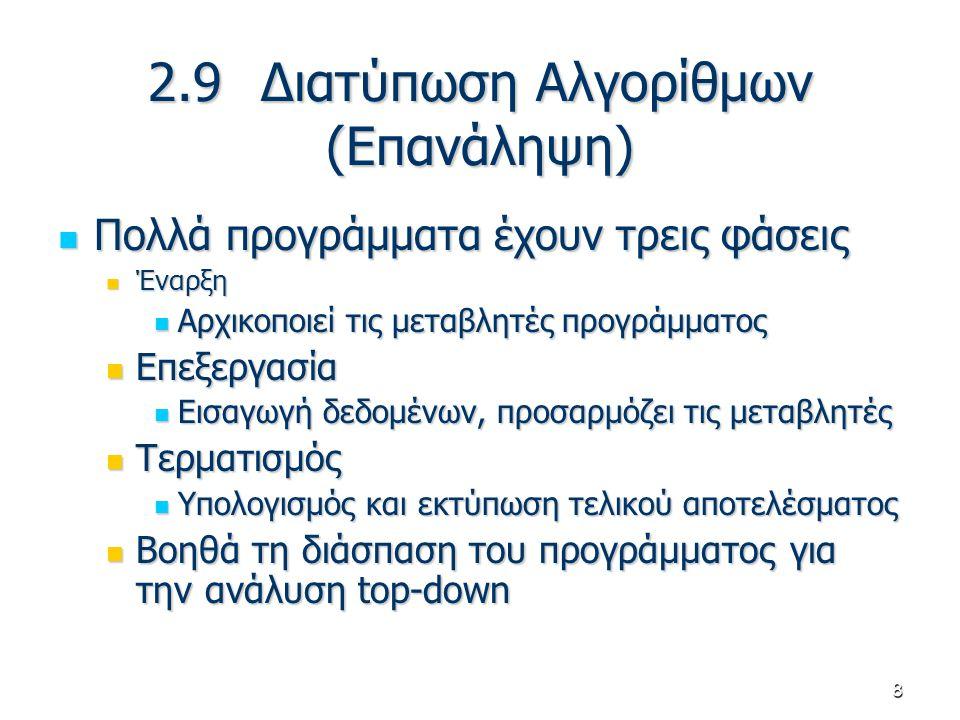 8 2.9 Διατύπωση Αλγορίθμων (Επανάληψη) Πολλά προγράμματα έχουν τρεις φάσεις Πολλά προγράμματα έχουν τρεις φάσεις Έναρξη Έναρξη Αρχικοποιεί τις μεταβλη