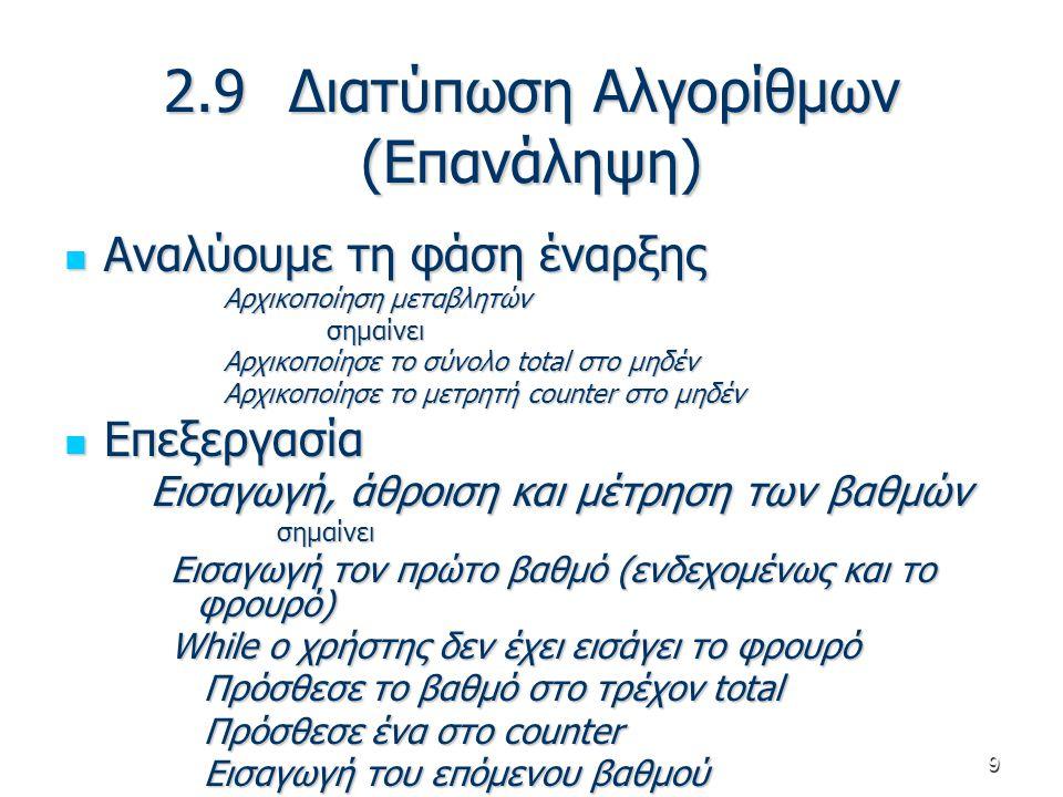 9 2.9 Διατύπωση Αλγορίθμων (Επανάληψη) Αναλύουμε τη φάση έναρξης Αναλύουμε τη φάση έναρξης Αρχικοποίηση μεταβλητών σημαίνει σημαίνει Αρχικοποίησε το σ