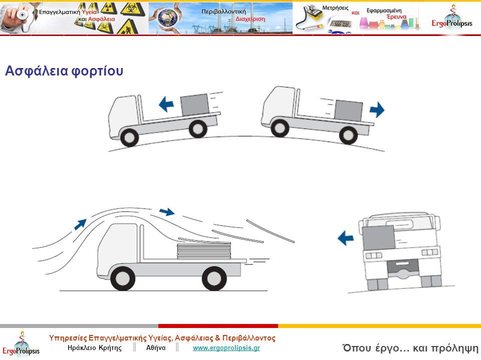 Υπηρεσίες Επαγγελματικής Υγείας, Ασφάλειας & Περιβάλλοντος Ηράκλειο Κρήτης ║ Αθήνα ║ www.ergoprolipsis.grwww.ergoprolipsis.gr Όπου έργο… και πρόληψη Ασφάλεια φορτίου