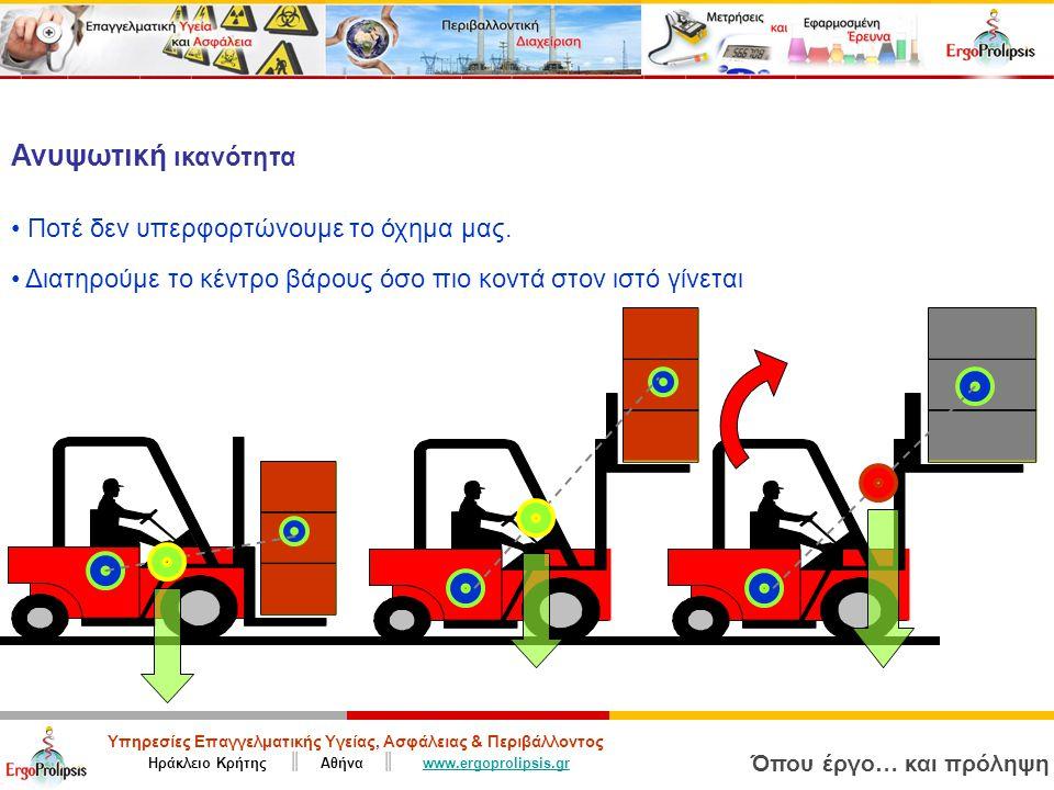 Υπηρεσίες Επαγγελματικής Υγείας, Ασφάλειας & Περιβάλλοντος Ηράκλειο Κρήτης ║ Αθήνα ║ www.ergoprolipsis.grwww.ergoprolipsis.gr Όπου έργο… και πρόληψη Ανυψωτική ικανότητα Ποτέ δεν υπερφορτώνουμε το όχημα μας.
