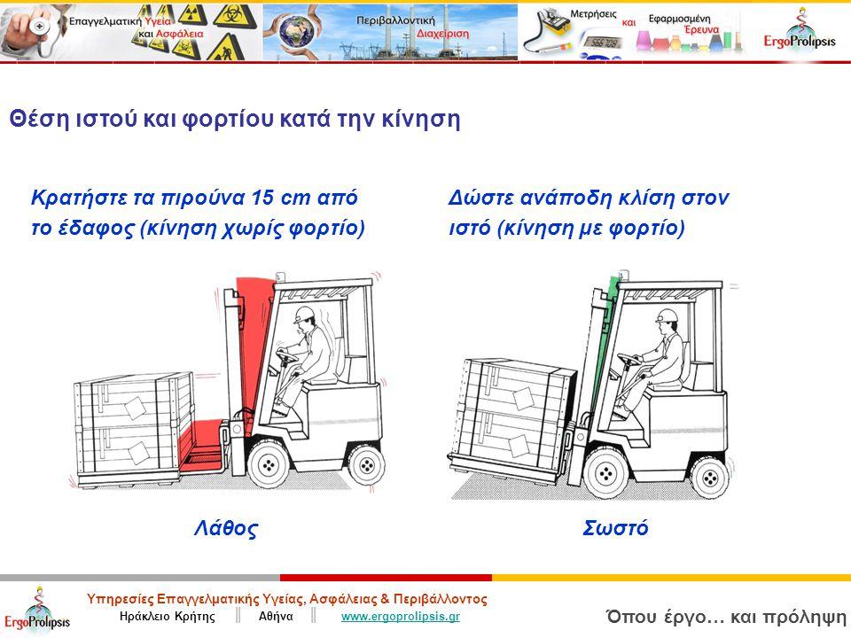 Υπηρεσίες Επαγγελματικής Υγείας, Ασφάλειας & Περιβάλλοντος Ηράκλειο Κρήτης ║ Αθήνα ║ www.ergoprolipsis.grwww.ergoprolipsis.gr Όπου έργο… και πρόληψη ΣωστόΛάθος Θέση ιστού και φορτίου κατά την κίνηση Κρατήστε τα πιρούνα 15 cm από το έδαφος (κίνηση χωρίς φορτίο) Δώστε ανάποδη κλίση στον ιστό (κίνηση με φορτίο)