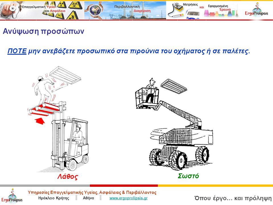 Υπηρεσίες Επαγγελματικής Υγείας, Ασφάλειας & Περιβάλλοντος Ηράκλειο Κρήτης ║ Αθήνα ║ www.ergoprolipsis.grwww.ergoprolipsis.gr Όπου έργο… και πρόληψη Ανύψωση προσώπων ΠΟΤΕ μην ανεβάζετε προσωπικό στα πιρούνια του οχήματος ή σε παλέτες.