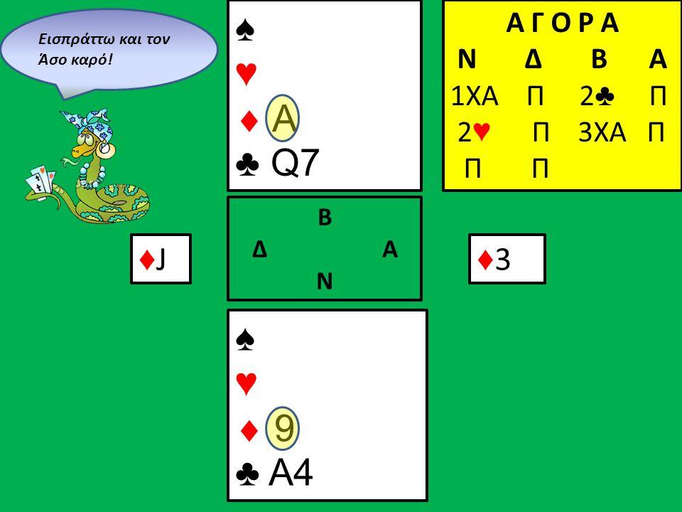 ♠ ♥  A ♣ Q7 ♠ ♥  9 ♣ A4 Β Δ Α Ν Α Γ Ο Ρ Α N Δ Β Α 1ΧΑ Π 2 ♣ Π 2 ♥ Π 3XA Π Π Π ♦J♦J ♦3♦3 Eισπράττω και τον Άσο καρό!