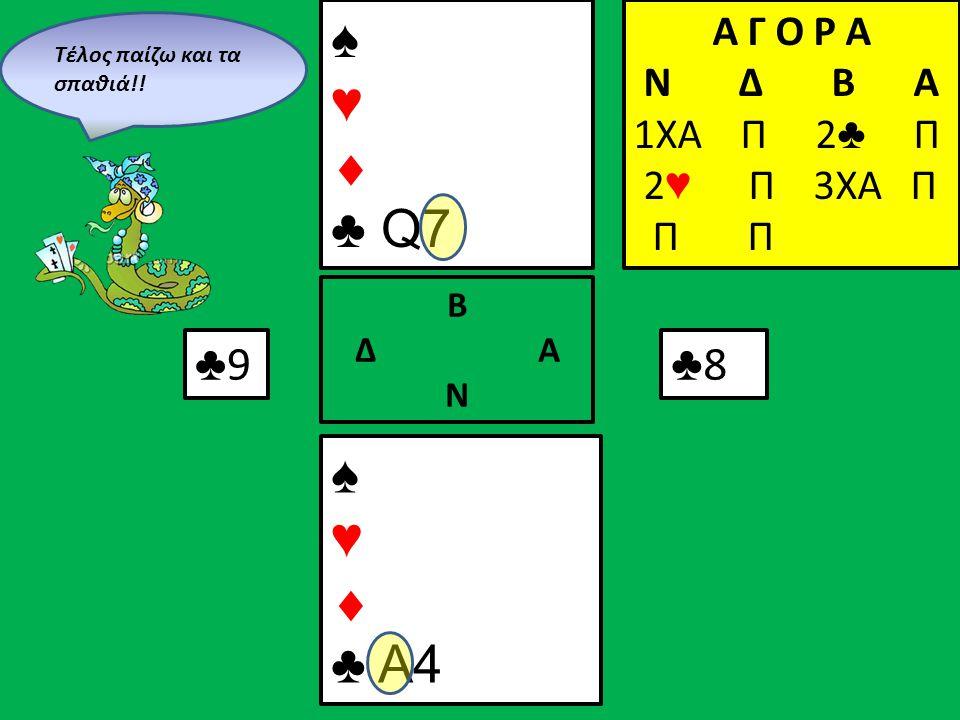 ♠ ♥  ♣ Q7 ♠ ♥  ♣ A4 Β Δ Α Ν Α Γ Ο Ρ Α N Δ Β Α 1ΧΑ Π 2 ♣ Π 2 ♥ Π 3XA Π Π Π ♣9♣9 ♣8♣8 Τέλος παίζω και τα σπαθιά!!
